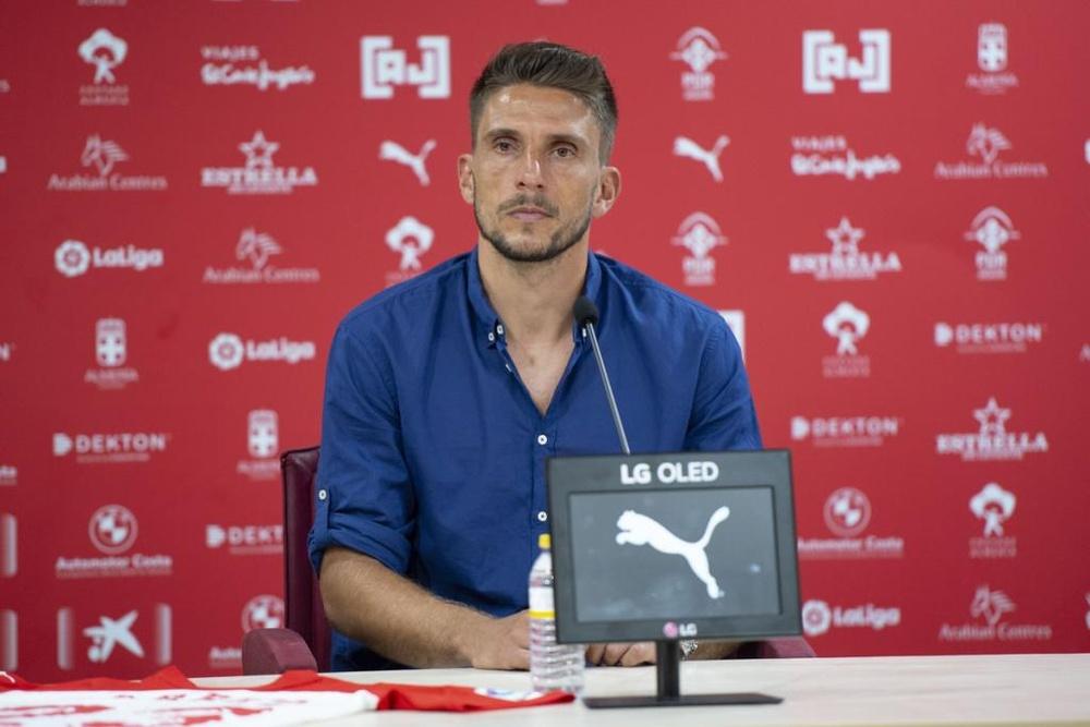 Carriço fue presentado como nuevo jugador del Almería. Captura/U_D_Almeria