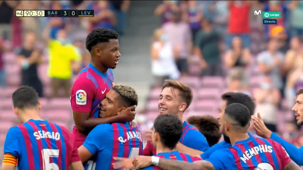 Fati scored an emotional goal in his comeback. Screenshot/movistarlaliga