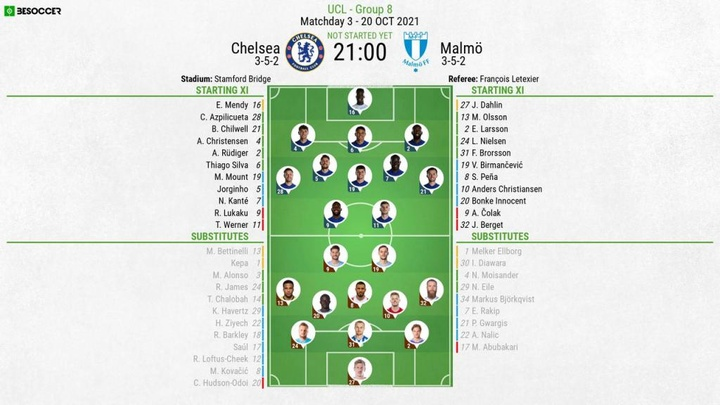 Chelsea v Malmo, UCL 2021/22, Group H, matchday 3, 20/10/2021, official line-ups. BeSoccer