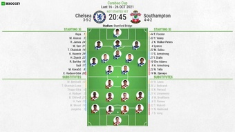 Chelsea v Southampton, Carabao Cup last 16, 26/10/2021, official line-ups. BeSoccer