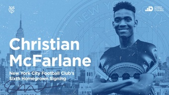 Christian McFarlane ya es jugador del primer equipo neoyorquino. Twitter/NYCFC