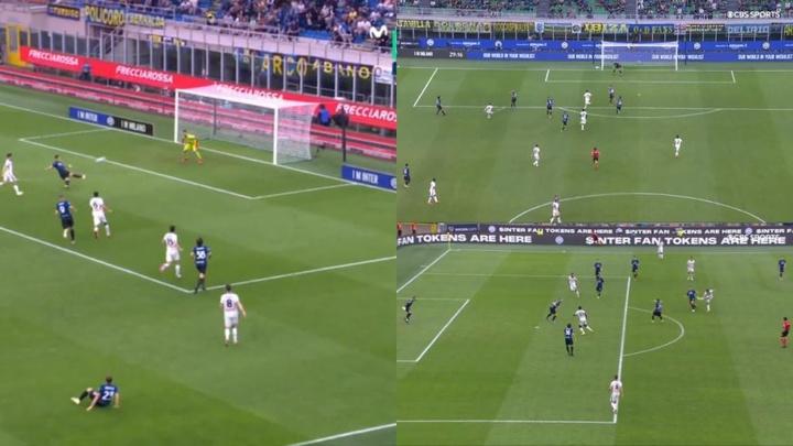 El Inter-Atalanta fue un recital de golazos. Captura/Movistar+/CBS