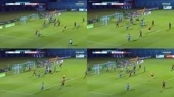 El gol más caótico de toda la Copa de Brasil. Captura/Premiere