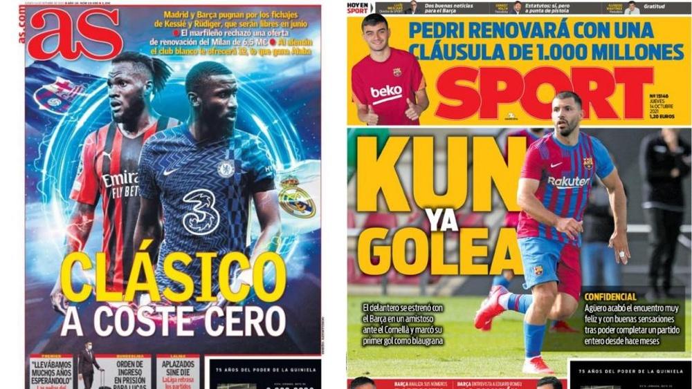 Capas da imprensa desportiva 14 de outubro de 2021.AS/Sport