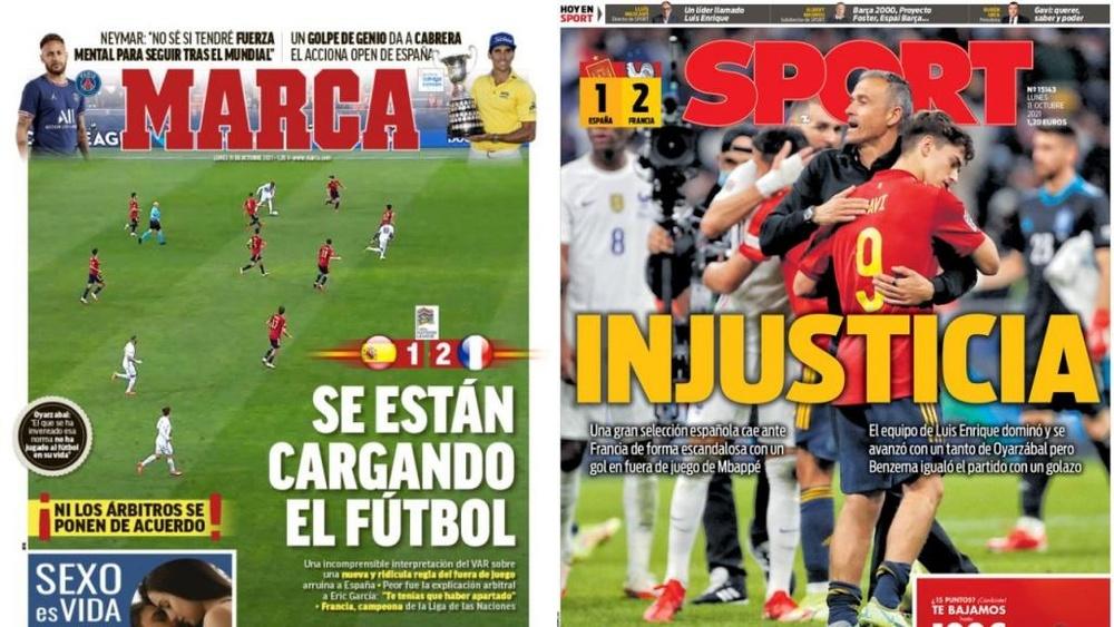 As capas da imprensa de 11 de outubro de 2021. Marca/Sport