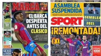Capas da imprensa desportiva 18 de outubro de 2021.Marca/Sport
