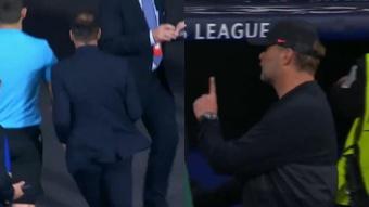 Klopp se enfadó con Simeone. Captura/BTSport