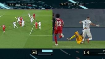 Militao was penalised for a handball. Screenshot/MovistarLaLiga