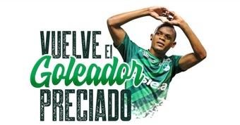 Harold preciado regresó a Deportivo Cali. Twitter/AsoDeporCali
