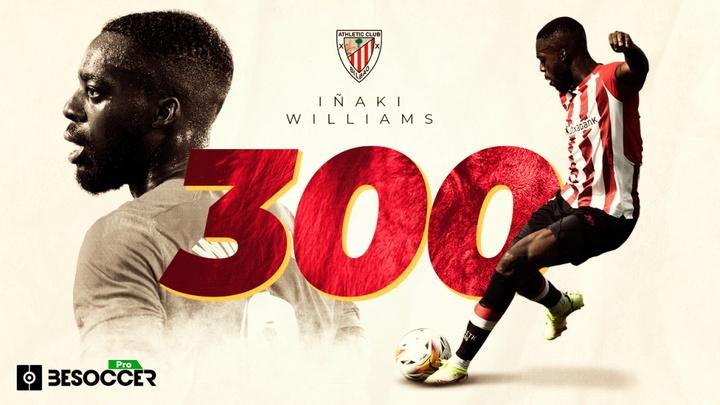 Williams cumplirá 300 partidos con el Athletic con su racha intacta. BeSoccer Pro