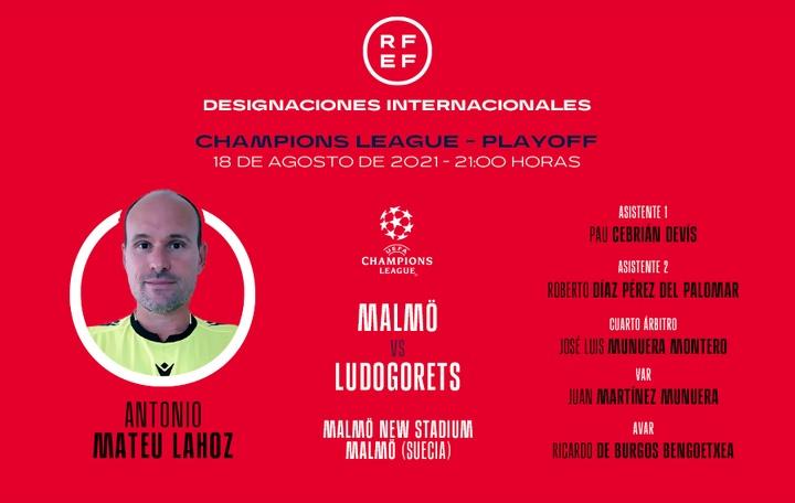 Mateu Lahoz será el árbitro del Malmö-Ludogorets. RFEF