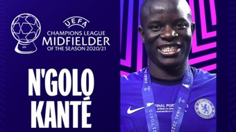 N'Golo Kanté, melhor meia da temporada 20-21. Twitter/LigadeCampeones