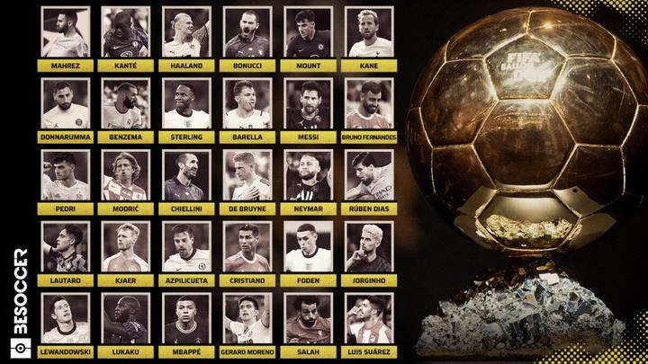 La liste des 30 nommés au Ballon d'Or 2021. BESOCCER