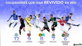 Los goleadores que han revivido en 2021. AFP