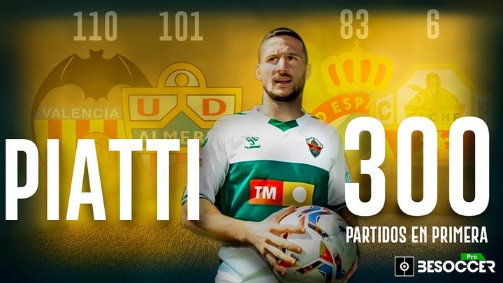 Piatti jugó su partido número 300 en la Liga. BeSoccer Pro