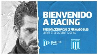 Racing confirmó a Gago como nuevo entrenador. Twitter/RacingClub