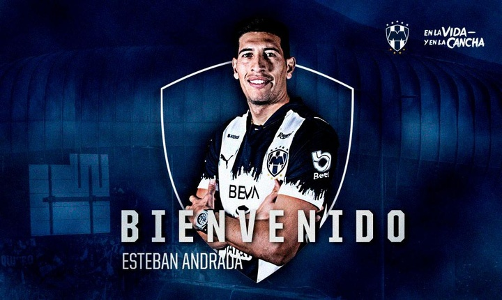 Esteban Andrada ya es de Rayados. Twitter/Rayados