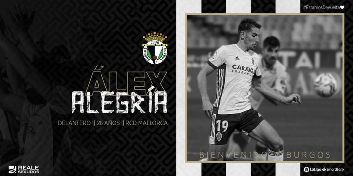 Álex Alegría jugará esta temporada en el Burgos. Twitter/Burgos_CF