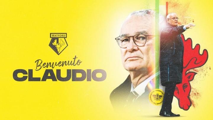 Ranieri, novo treinador do Watford.WatfordFC