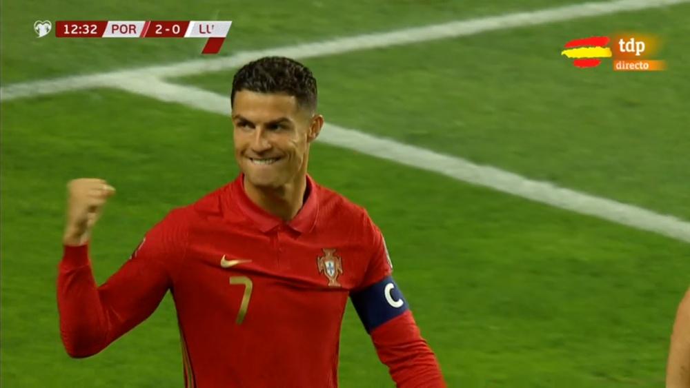 Portugal se puso 2-0 en once minutos con doblete de Cristiano. Captura/TDP