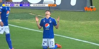 Daniel Ruiz hizo dos goles y una asistencia ante Bucaramanga. Captura/WinSportsTV