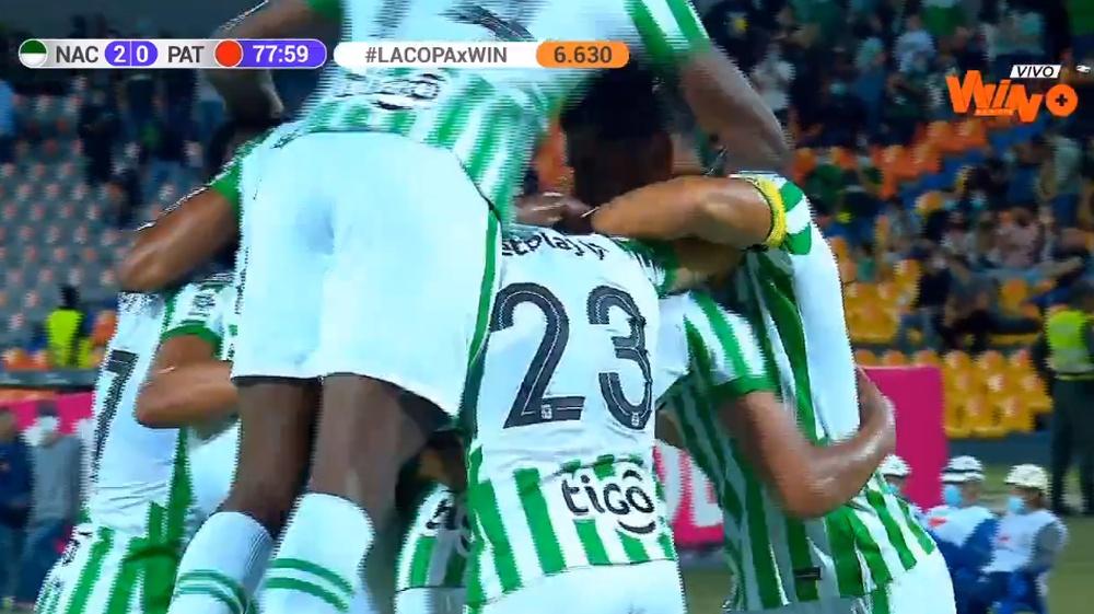 Banguero marcó su primer gol con Nacional. Captura/WinSportsTV