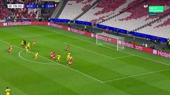 O 3º gol do Benfica sentenciou o Barça... e também Koeman? Captura/MovistarLigadeCampeones