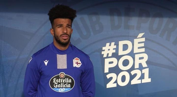 Derik Osede en su presentación como jugador del Deportivo de la Coruña. Captura/Youtube/RCD