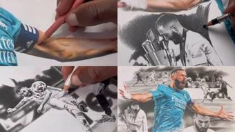 Un dibujo brutal de Benzema se hace viral. Capturas/Twitter/percymadraw