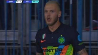 Dimarco marcó el segundo gol 'nerazzurro'. Captura/MovistarLigadeCampeones