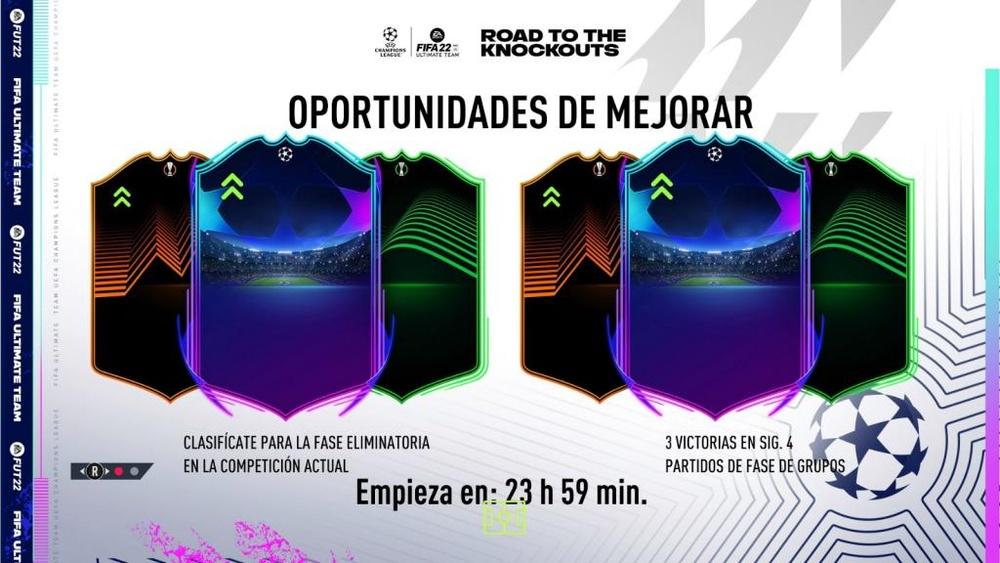 Diseño oficial de la carta de la Champions, Europa League y Conference League. Twitter/EASPORTSFIFA