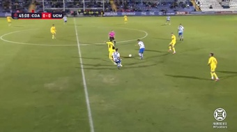 El Alcoyano venció al UCAM Murcia por 3-2. Captura/Footters