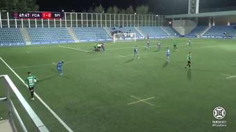 El Andorra venció por la mínima al San Fernando (1-0). Captura/Footters