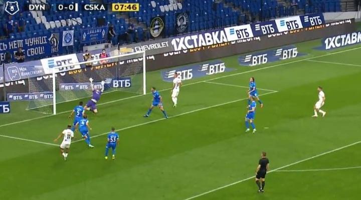 El gol de Chidera Ejuke no sirvió para que el CSKA se llevara el derbi de Moscú. Captura/RussianFoot