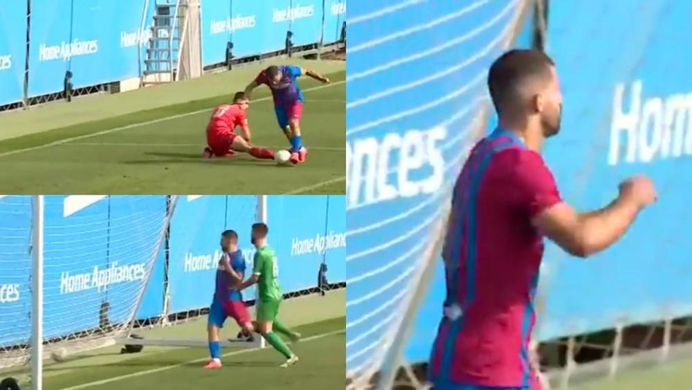 Agüero se estrenó con gol en el amistoso del Barcelona. Captura/FCBarcelona