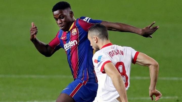 A relação entre Moriba e Barça vai ficando pior. EFE/Alberto Estévez