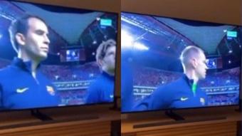 Aguero supported his Barcelona teammates from home. Screenshot/kunaguero