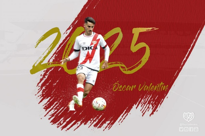 Óscar Valentín será jugador 'franjirrojo' hasta 2025. Twitter/RayoVallecano