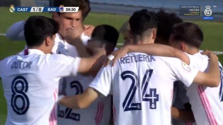 El Castilla superó al Badajoz. Captura/RealMadridTV