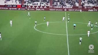 El Albacete no pasó del empate a uno ante el Betis Deportivo. Captura/Footters