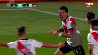 Enzo Pérez marcó el gol de la victoria ante Sarmiento. Captura/ESPN