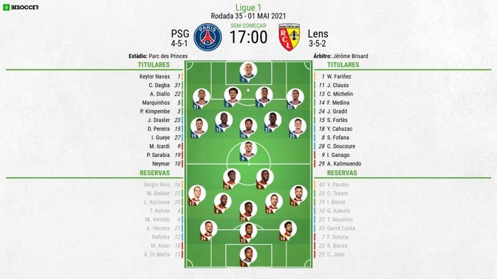 Escalações de PSG e Lens pela 35º rodada do Campeonato Francês 20-21. BeSoccer