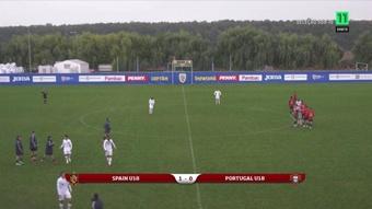 Álvaro Bastida marcó el gol de la victoria ante Portugal. Captura/Canal11