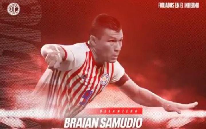 Braian Samudio, nuevo jugador de Toluca. Twitter/TolucaFC