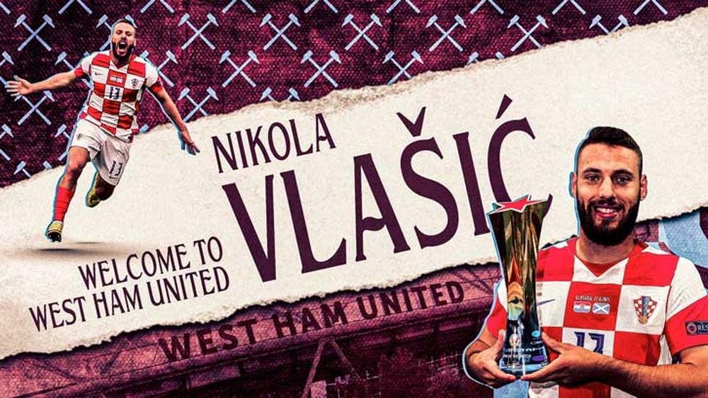Nikola Vlasic, nuevo jugador del West Ham. Twitter/WestHam