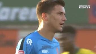 Filip Stankovic juega cedido en el Volendam neerlanés. Captura/ESPN