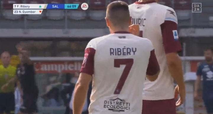 Salernitana é goleada pelo Torino em estreia de Franck Ribéry. Captura/DAZN