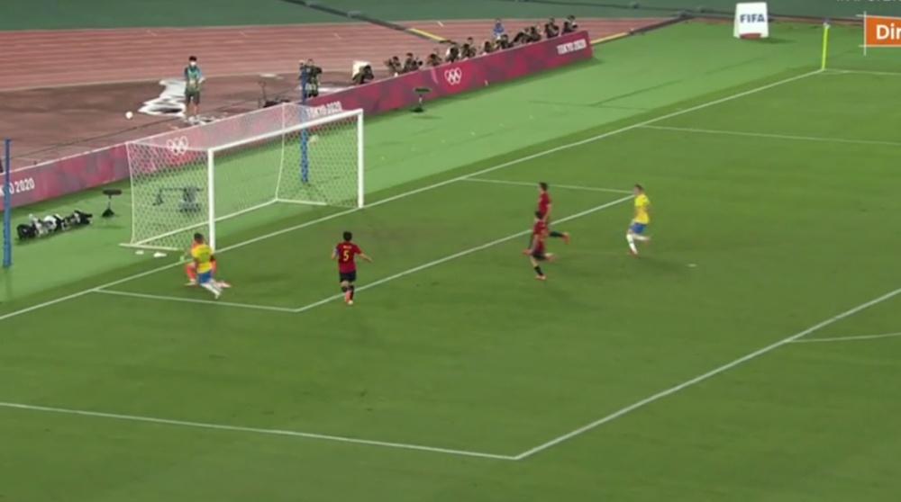 Malcolm left Vallejo behind to score gold-winning goal. Captura/TVE