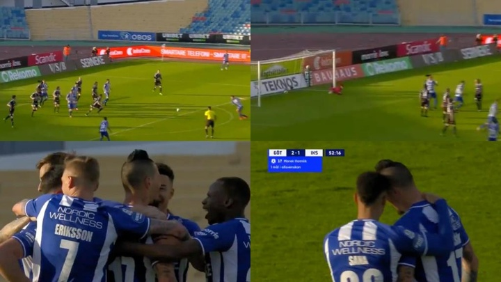 Marek Hamsik anotó su primer gol como futbolista del Goteborg. Captura/Discovery+Sport