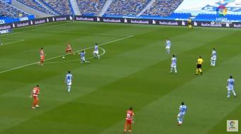 Soldado marcó un gol que es idéntico al de Mbappé ante España. Captura/LaLigaSantander